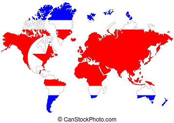 North Korea map symbol with flag.