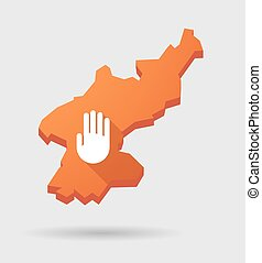North Korea map with a hand - Illustration of a North Korea...
