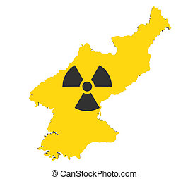 North Korea Map with Nuclear Sign