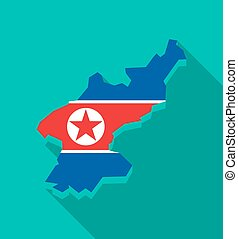 North Korea map with the national flag