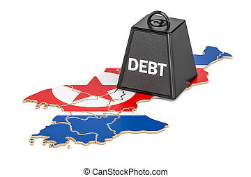 North Korea national debt or budget deficit, financial crisis concept, 3D rendering