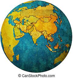 north korea on globe map