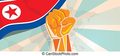 North Korea or Democratic People s Republic of Korea propaganda poster fight and protest independence struggle rebellion show symbolic strength with hand fist