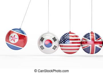 North Korea, South Korea, USA, Great Britain political conflict concept. 3D rendering