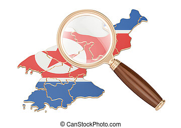 North Korea under magnifying glass, analysis concept, 3D rendering