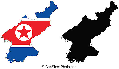 north korea - vector map and flag of North Korea with white ...