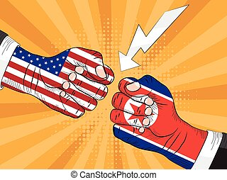 North Korea vs America, Nuclear explosion, pop art