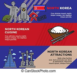 North Korean cuisine and attractions promotional posters set