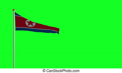 North Korean flag on green screen