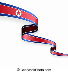 North Korean flag wavy abstract background. Vector illustration.