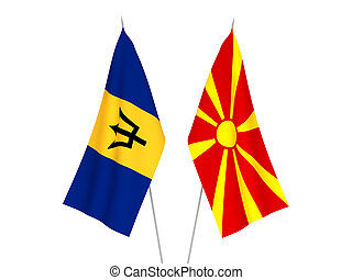 North Macedonia and Barbados flags - National fabric flags ...