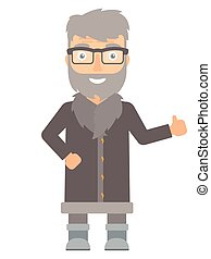 North man giving thumb up vector illustration.