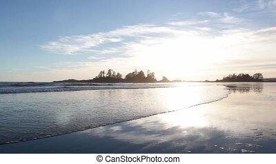 North Pacific beach. Sun going down