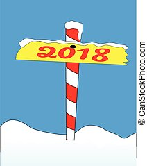 North Pole 2018 Sign - A sign at the north pole with the...