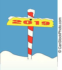 North Pole 2019 Sign - A sign at the north pole with the...