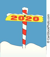 North Pole 2020 Sign - A sign at the north pole with the...