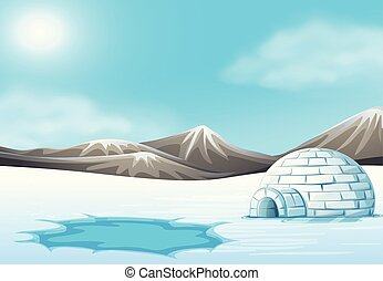 North pole and Igloo landscape illustration