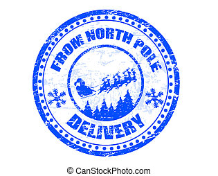 North Pole delivery stamp - Blue grunge rubber stamp with...
