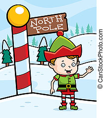 A happy cartoon Christmas elf in the North Pole.