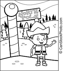 North Pole Elf - A happy cartoon Christmas elf in the North...