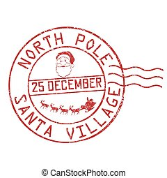 North Pole Santa Village Grunge Rubber Stamp