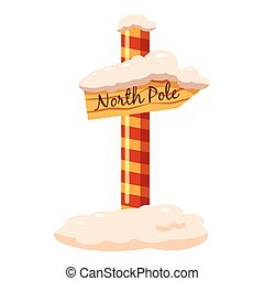North Pole sign icon, cartoon style