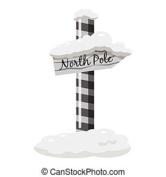 North Pole signpost icon, gray monochrome style