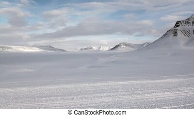 North Pole Svalbard Arctic. Way from airport Longyear to...