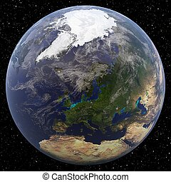 North Pole viewed from Europe - Earth from Space