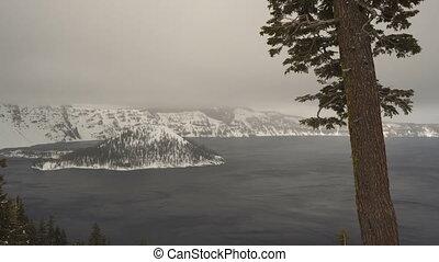 North Rim Winter Storm Wizard Island Crater Lake Snowflakes...