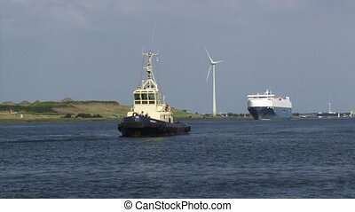 NORTH SEA CANAL Baltic Ace westbound behind pilot boat Port of Amsterdam.