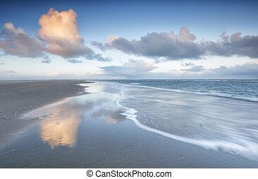 North sea coast at sunrise