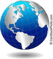 North South America Global World - Vector Map Icon of the...