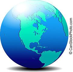 North, South AMERICA Globe World