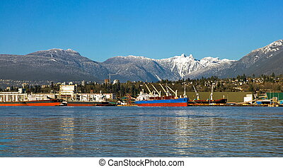 North Vancouver's Sea Port - The ship under loading in the...