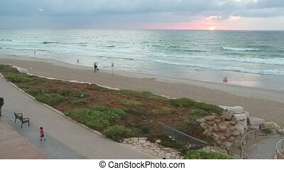 North west Tel-aviv beach shot clip