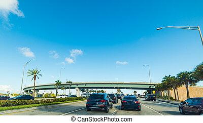 Northbound traffic on the highway