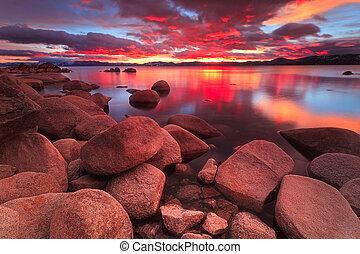 northe, 日落, 湖tahoe