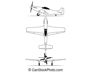 Northe american World war 2 fighter airplane isolated on white background