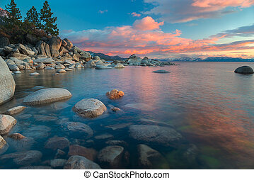 northe, pôr do sol, lago tahoe