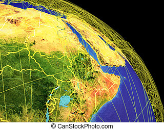 Northeast Africa from space with country borders and trajectories representing global communication, travel, connections. 3D illustration. Elements of this image furnished by NASA.
