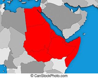Northeast Africa on 3D map