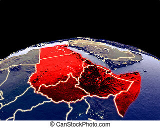 Northeast Africa from space on planet Earth at night with bright city lights. Detailed plastic planet surface with real mountains. 3D illustration. Elements of this image furnished by NASA.