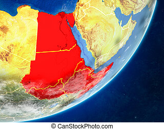 Northeast Africa on model of planet Earth with country borders and very detailed planet surface and clouds. 3D illustration. Elements of this image furnished by NASA.