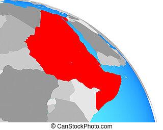 Northeast Africa on simple blue political globe. 3D illustration.