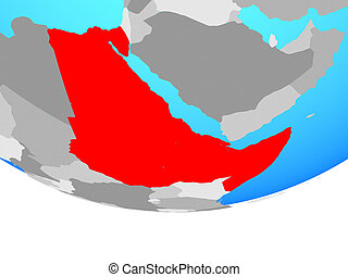 Northeast Africa on simple political globe. 3D illustration.