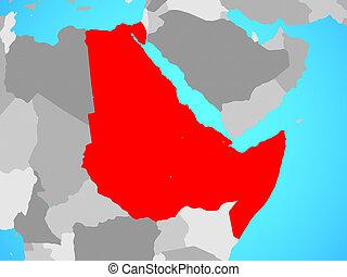 Northeast Africa on blue political globe. 3D illustration.