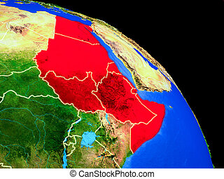 Northeast Africa on planet Earth from space with country borders. Very fine detail of planet surface. 3D illustration. Elements of this image furnished by NASA.