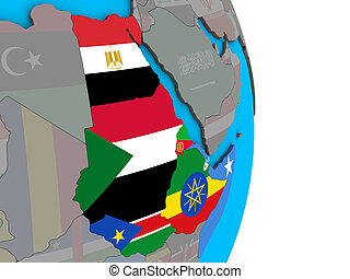 Northeast Africa with embedded national flags on simple political 3D globe. 3D illustration.