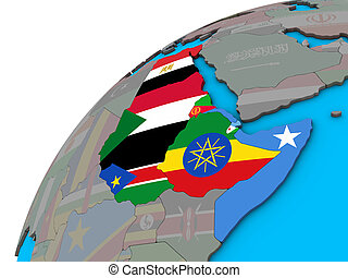 Northeast Africa with national flags on 3D globe. 3D illustration.